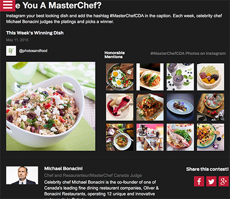 nod from Chef Oliver Bonacini and MasterChef Canada