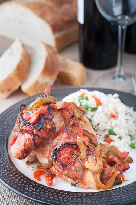 Roasted Chicken with Sautéed Onions and Peppers