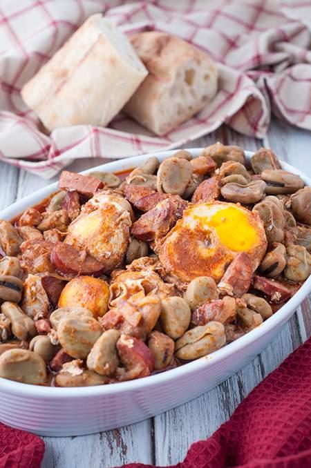 Portuguese Fava Bean, Chourico and Egg Stew