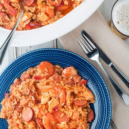 Chicken, Shrimp and Chouriço Jambalaya