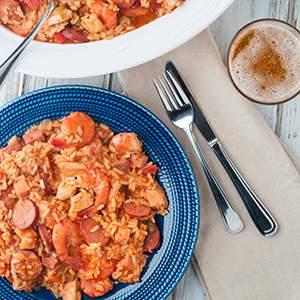 Chicken, Shrimp and Chouriço Jambalaya