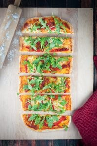 Arugula, Roasted Red Pepper and Buffalo Mozzarella Flatbread (Pizza)