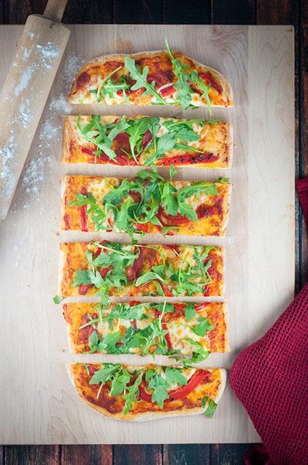 Arugula, Roasted Red Pepper and Buffalo Mozzarella Flatbread (Pizza)