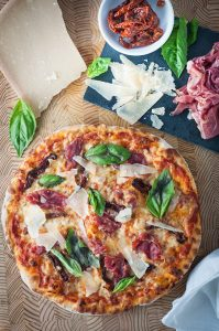 Prosciutto and Sun-Dried Tomato Grilled Pizza