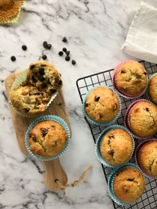 freshly baked chocolate chip banana muffins