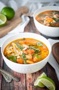 Instant Pot chicken soup with beans and spinach