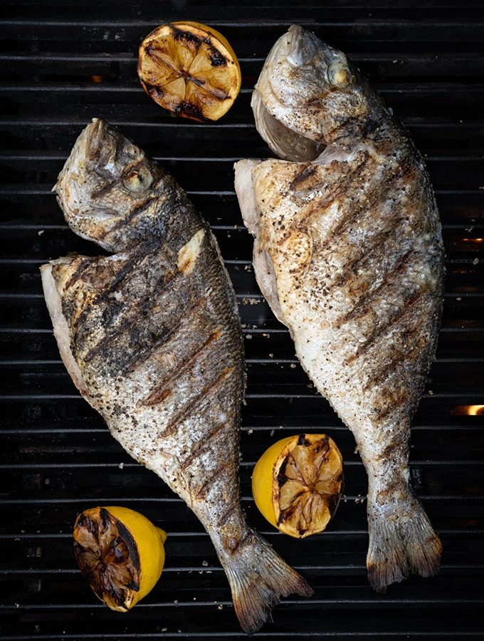 Sea bream on the grill