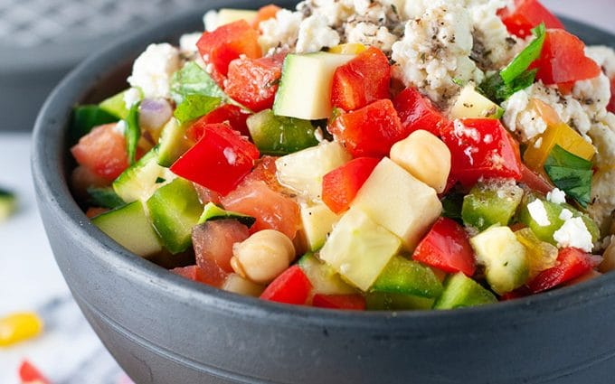 Fresh diced vegetable salad and sharing my diabetes diagnosis story