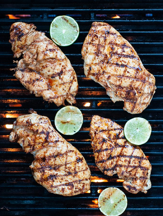 Flattened moist and juicy grilled chicken breast