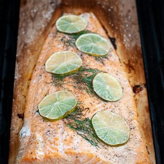 Dill and lime cedar plank salmon