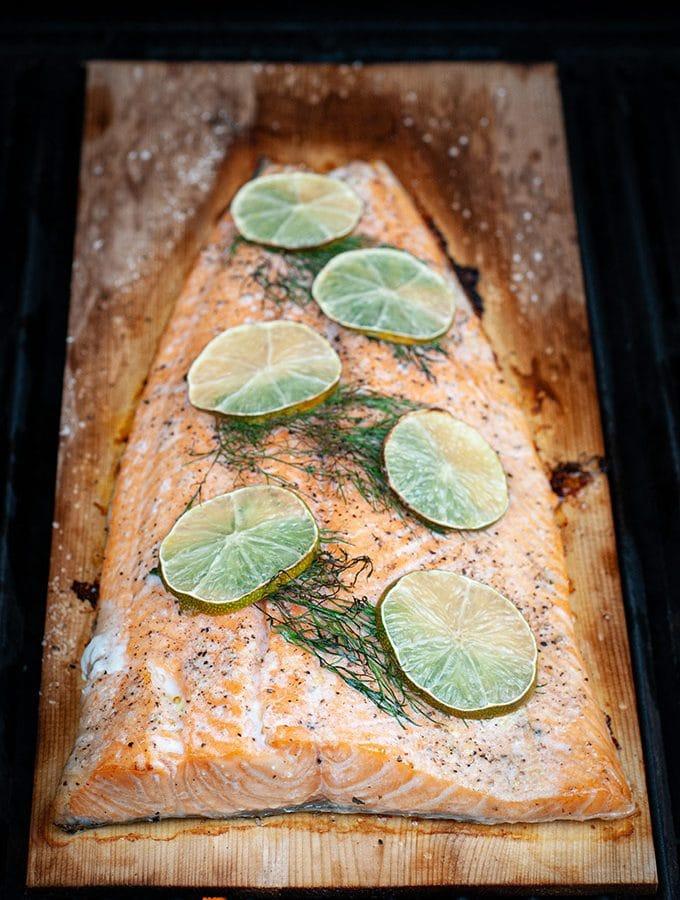 Dill and lime cedar plank salmon