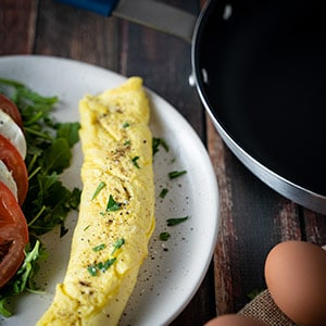 French omelette and a nonstick pan