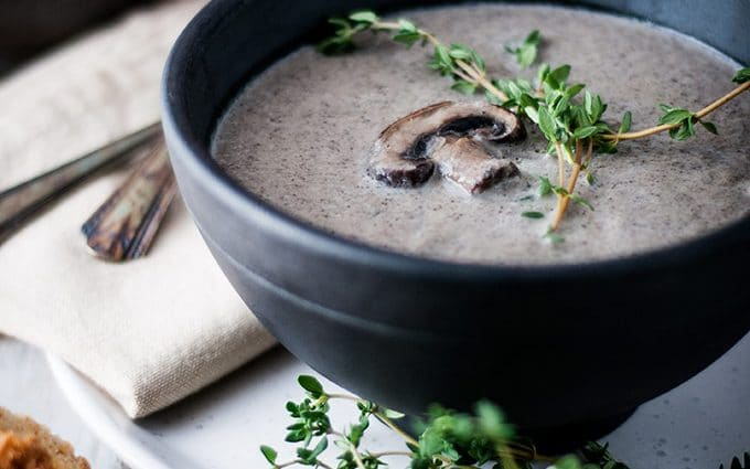 Cream of mushroom soup, with a variety of mushrooms