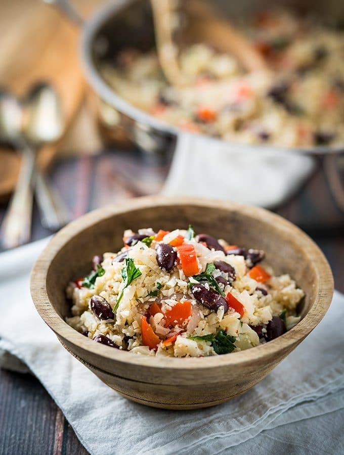cauliflower rice with beans