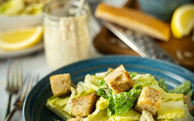 Healthy Caesar salad with greek yogurt