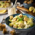 Healthy Cacaesar salad with greek yogurt
