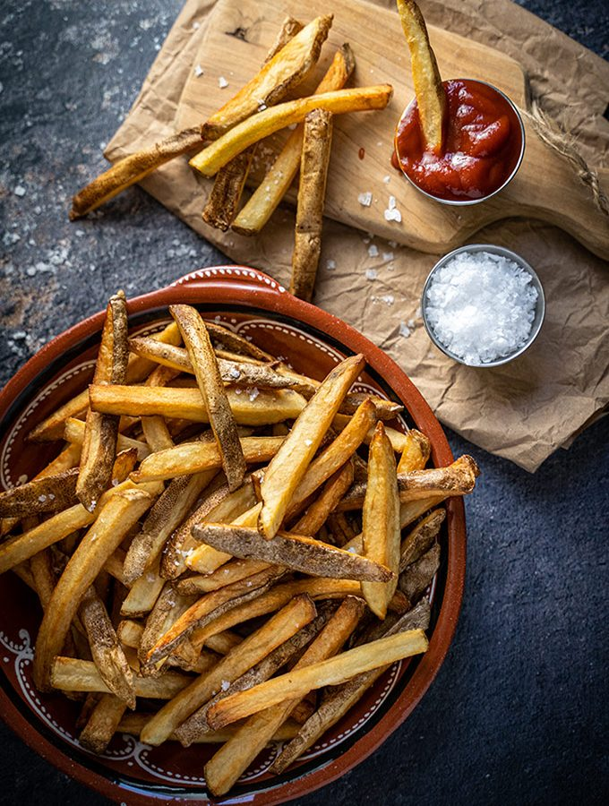 Homemade double-fried french fries on a plate