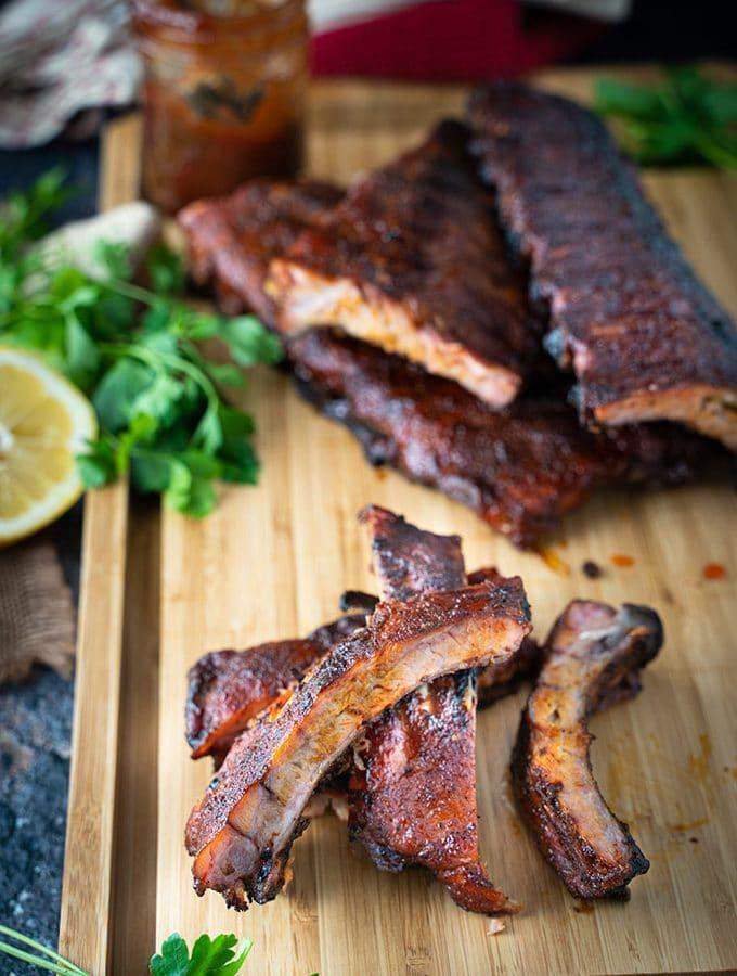 Smoked back ribs on a cutting board