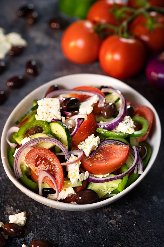Greek salad in a serving dish