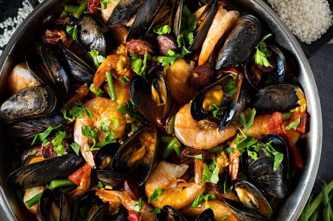 Paella in a large pan