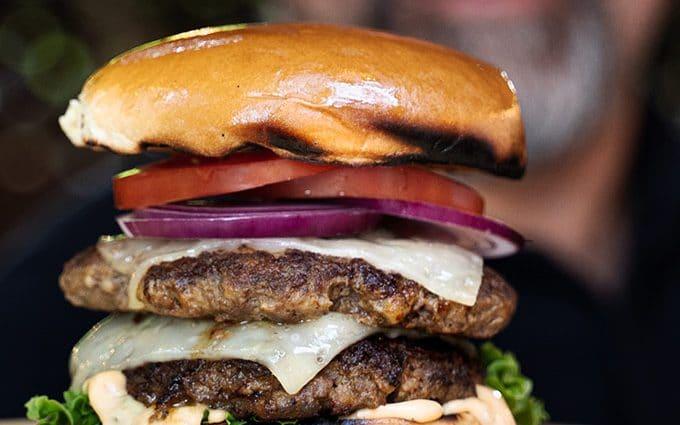 Smashed burgers on cast iron