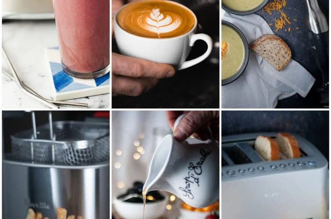 Collage of pictures featuring foods made with Breville products