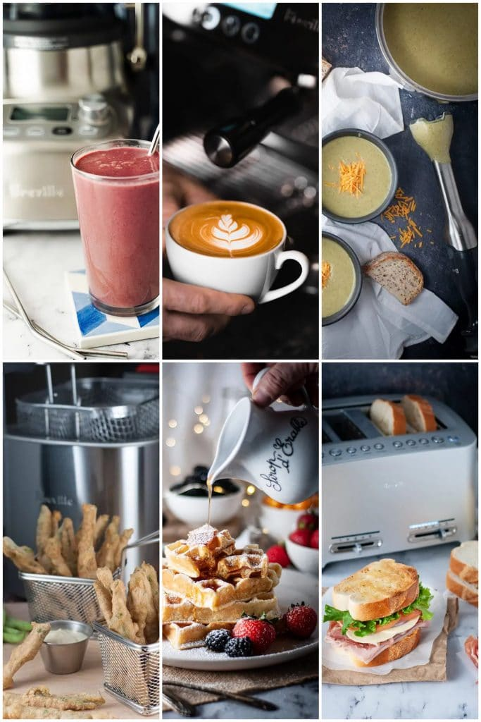 Collage of pictures of food made with Breville products